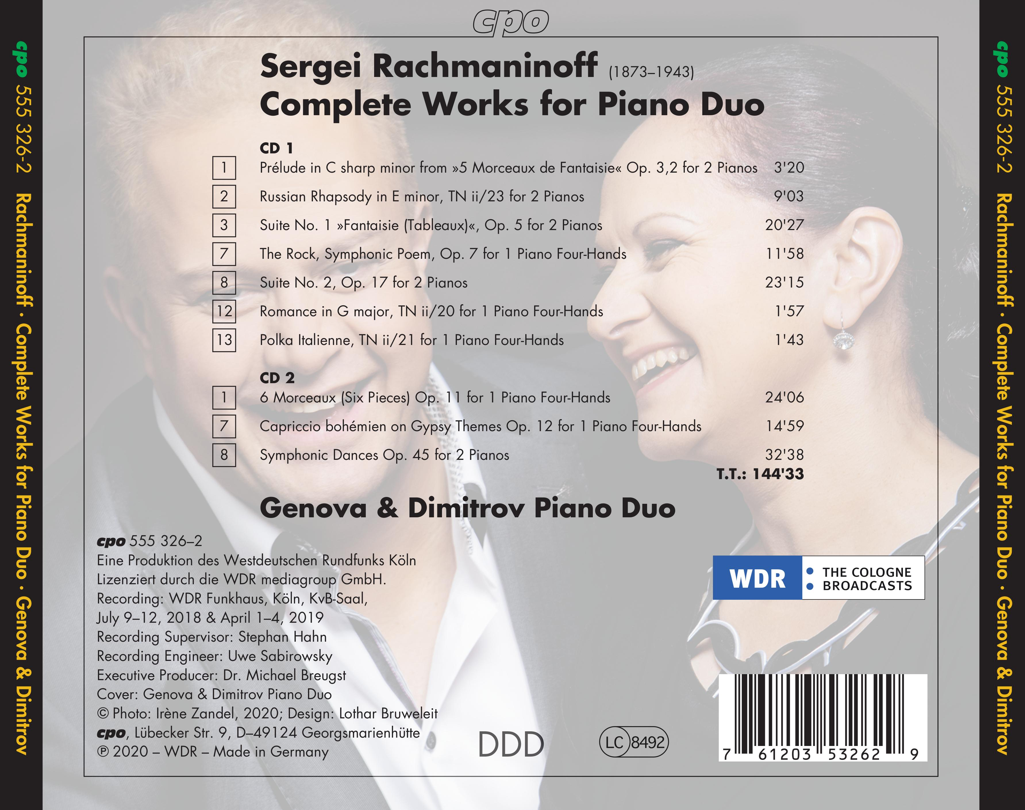 Sergei Rachmaninoff • Complete Works for Piano Duo (cpo 555 326-2) // Back Inlay